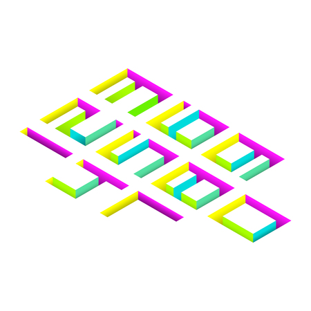 buried: Colorful 3d isometric buried numbers on white background. Vector illustration.