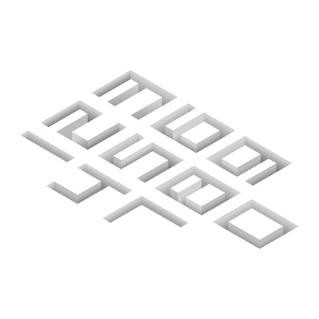 buried: Gray 3d isometric buried numbers on white background. Vector illustration. Illustration