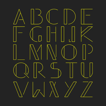 latin: Thin minimalistic font. Yellow latin alphabet on black background. Vector illustration. Illustration