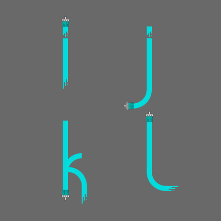 Brush paint stroke alphabet. Letters i j k l. Dripping paint. Vector illustration. Ilustração