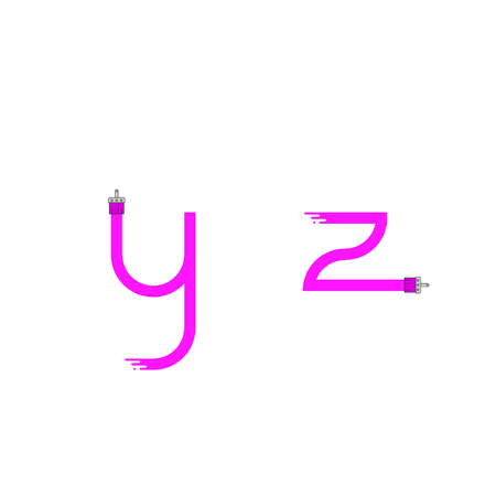 dripping paint: Brush paint stroke alphabet. Letters y z. Dripping paint. Vector illustration.