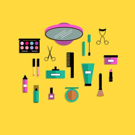 Flat design modern concept of make up accessories.Vector illustration.