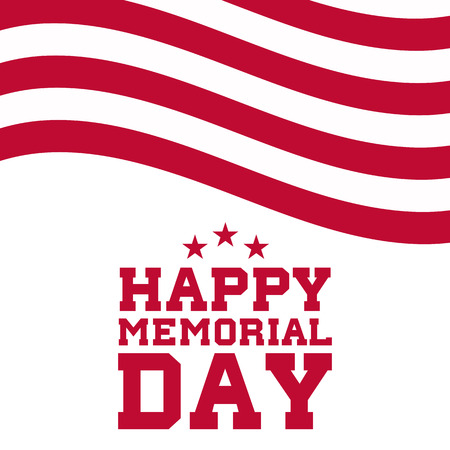 Happy Memorial Day background with flag motives. Vector illustration.
