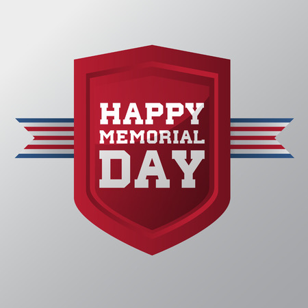 brave: Happy Memorial Day on red coat of arms. Vector illustration. Illustration