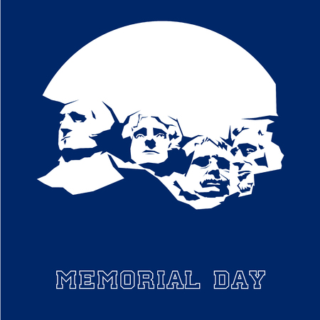 Memorial Day Mount Rushmore. Vector illustration.