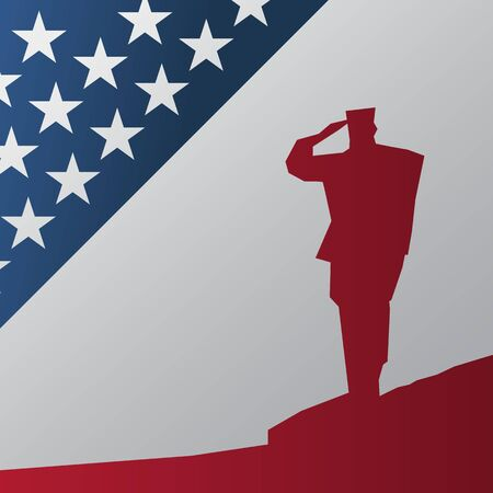 saluting: Memorial Day. Soldier giving honor and saluting with flag motives. Vector illustration. Illustration