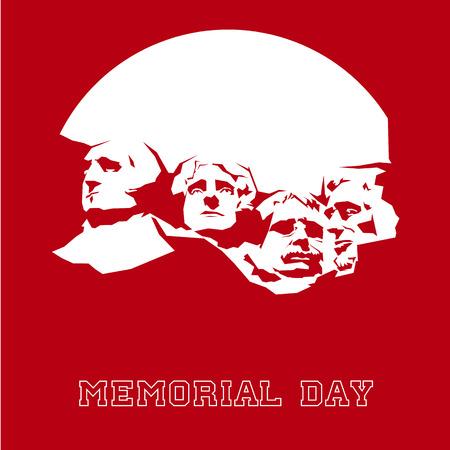 Memorial Day Mount Rushmore. Vector illustration. 矢量图像