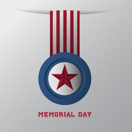 honor: Memorial Day military honor badge. Vector illustration.