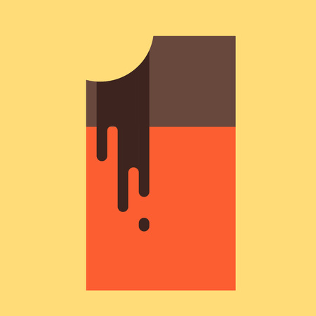 dripping chocolate: Chocolate bar. Dripping hot chocolate. Vector illustration.