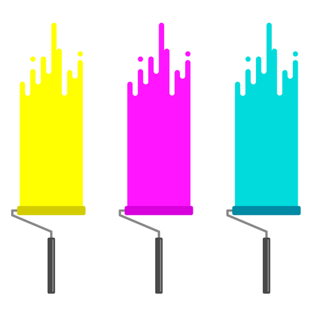 wall paint: Painting rollers dripping paint. CMYK. Vector illustration.