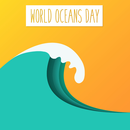 orange sunset: World Oceans Day sign and wave on orange sunset background. Vector illustration. Illustration