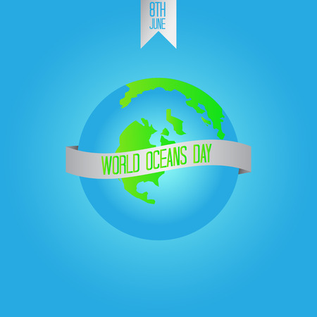 World Oceans Day. Planet with ribbon. Vector illustration. Illustration