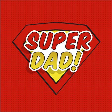 Super dad! Fathers day design over pointed background. Vector illustration