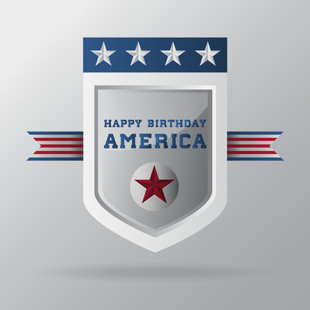 white coat: Independence Day design Happy birthday America on white coat of arms. Vector illustration.