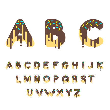 Chocolate donut bubble font. Vector illustration.