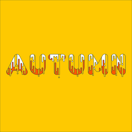 Autumn. Bubble font with dripping paint. Vector illustration.