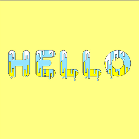 dripping paint: Hello. Bubble font with dripping paint. Vector illustration.