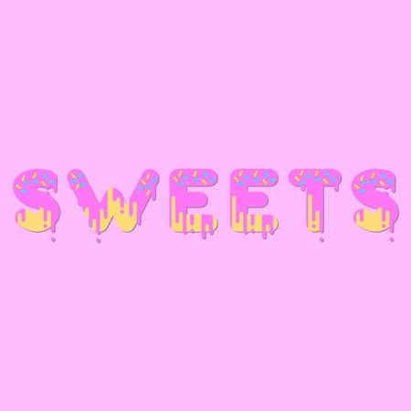 dripping paint: Sweets. Pink donut bubble font with dripping paint. Vector illustration.