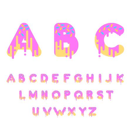 Pink donut bubble font. Vector illustration. 矢量图像