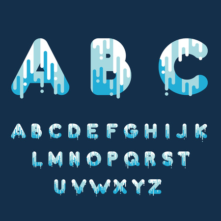 Bubble font with dripping paint. Vector illustration.