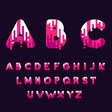 dripping paint: Bubble font with dripping paint. Vector illustration.
