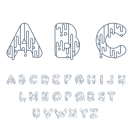 custom letters: Bubble font with dripping paint. Vector illustration.
