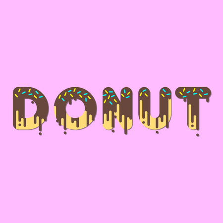 dripping chocolate: Donut. Chocolate donut bubble font with dripping paint. Vector illustration.
