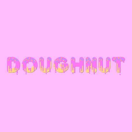 dripping paint: Doughnut. Pink doughnut bubble font with dripping paint. Vector illustration.