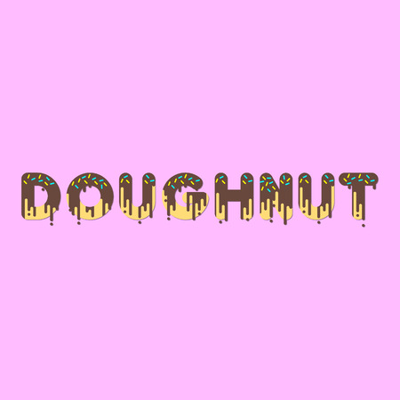 dripping paint: Doughnut. Chocolate doughnut bubble font with dripping paint. Vector illustration.