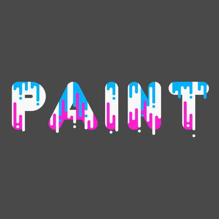 dripping paint: Paint. Bubble font with dripping paint. Vector illustration.