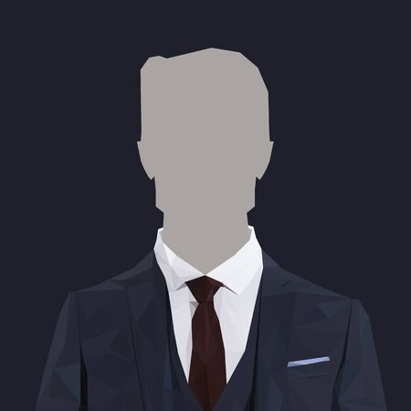 red tie: Low poly business man with navy suit and red tie. Vector illustration Illustration