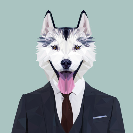 navy blue suit: Siberian Husky dog animal dressed up in navy blue suit with red tie. Business man. Vector illustration. Illustration