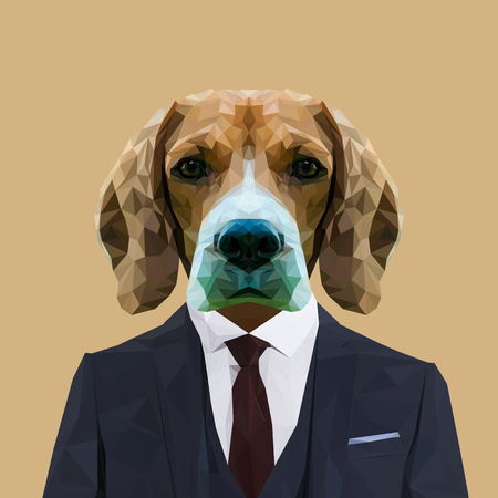 Beagle dog animal dressed up in navy blue suit with red tie. Business man. Vector illustration.