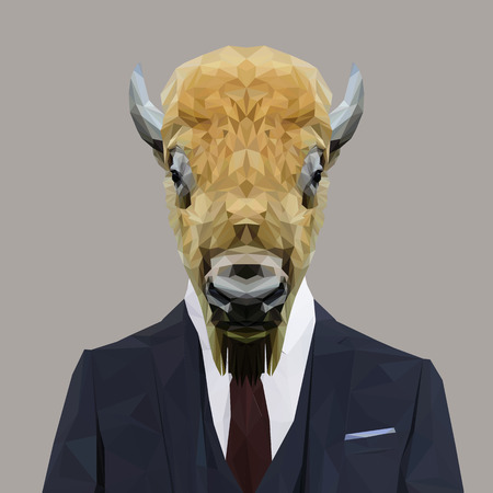 red tie: Buffalo animal dressed up in navy blue suit with red tie. Business man. Vector illustration.