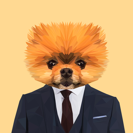 Boo Pomerian dog animal dressed up in navy blue suit with red tie. Business man. Vector illustration.