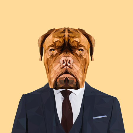 Dogue de Bordeaux dog animal dressed up in navy blue suit with red tie. Business man. Vector illustration.Dogue de Bordeaux dog animal dressed up in navy blue suit with red tie. Business man. Vector illustration.