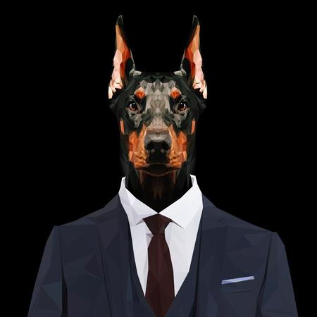 pinscher: Doberman Pinscher dog animal dressed up in navy blue suit with red tie. Business man. Vector illustration.