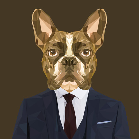 red tie: French bulldog animal dressed up in navy blue suit with red tie. Business man. Vector illustration.