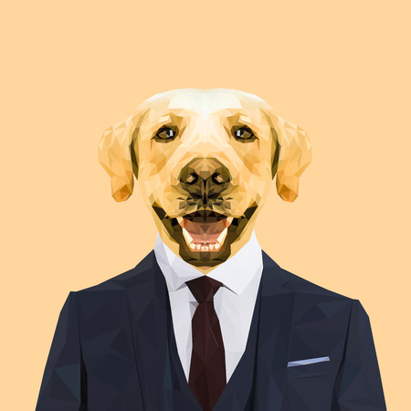 red tie: Labrador dog animal dressed up in navy blue suit with red tie. Business man. Vector illustration. Illustration