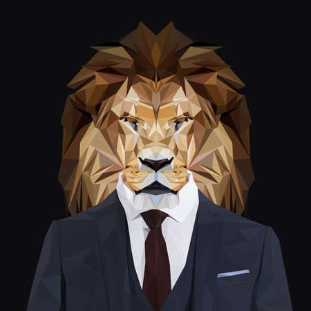 Lion animal king dressed up in navy blue suit with red tie. Business man. Vector illustration.
