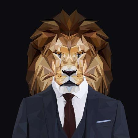 Lví zvíře král oblečený v tmavě modrém obleku s červenou kravatou. Obchodník. Vektorové ilustrace.