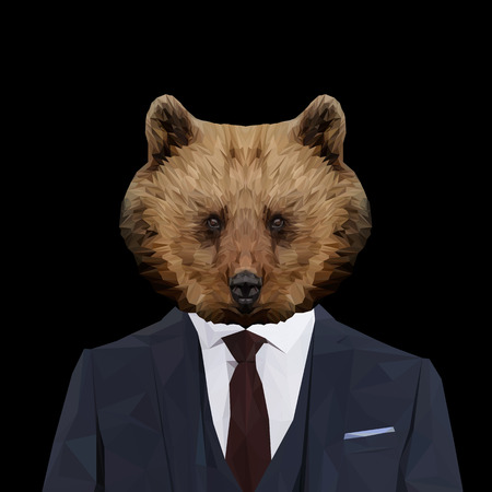 anthropomorphic: Bear animal dressed up in navy blue suit with red tie. Business man. Vector illustration. Illustration