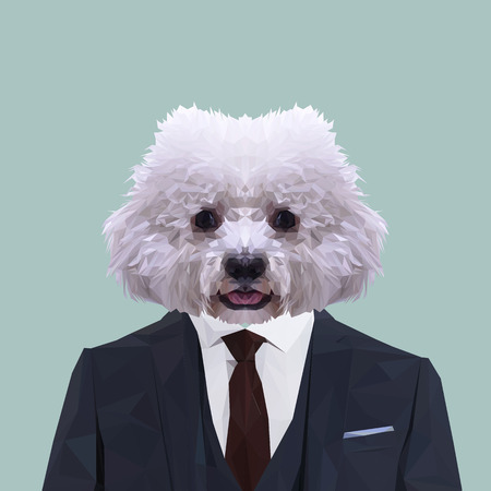 Bichon Frise dog animal dressed up in navy blue suit with red tie. Business man. Vector illustration.
