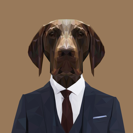 English pointer dog animal dressed up in navy blue suit with red tie. Business man. Vector illustration.