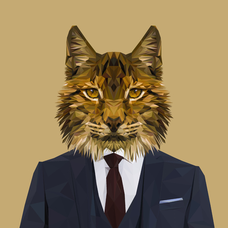 Lynx cat animal dressed up in navy blue suit with red tie. Business man. Vector illustration. Illustration
