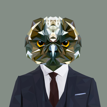business suit: Owl animal dressed up in navy blue suit with red tie. Business man. Vector illustration. Illustration