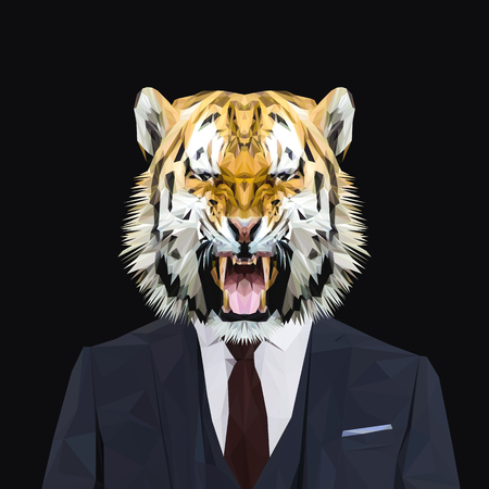 navy blue suit: Tiger animal dressed up in navy blue suit with red tie. Business man. Vector illustration.