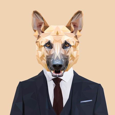 red tie: German Shepherd dog animal dressed up in navy blue suit with red tie. Business man. Vector illustration. Illustration