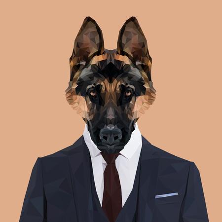 German Shepherd dog animal dressed up in navy blue suit with red tie. Business man. Vector illustration. Иллюстрация