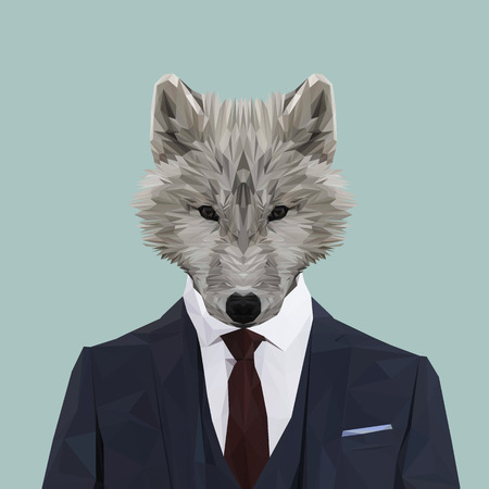 navy blue suit: Wolf animal dressed up in navy blue suit with red tie. Business man. Vector illustration. Illustration